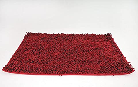 Tache 6' X 9' Large Cotton Rectangle Solid Raspberry Red Shag Chenille All Area Rug Carpet - Red Shag Carpet