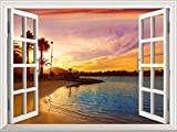 Removable Wall Sticker/Wall Mural - Elf Treehouse in The Forest | Creative Window View Wall Decor (36''x48'', Tropical Beach View at Sunset)