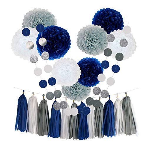 CHOTIKA 23pcs Tissue Paper Flowers Pom Poms Party Girl Decorations Tassel Garland for Wedding Bridal Shower Graduation Bachelorette Celebrate First Birthday Graduate Supplies (Navy Blue, White, Grey) -