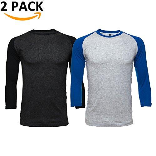 - EZ Apparel Men's Casual Raglan 3/4 Sleeve Baseball Tee Shirt Athletic Jersey 2 Pack (M)