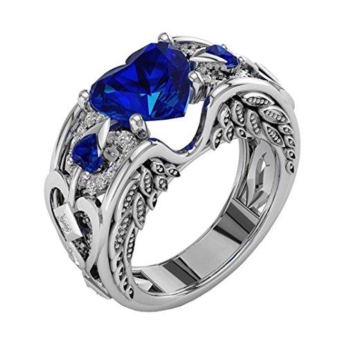 Sandistore Natural Ruby Gemstones Birthstone Bride Wedding Engagement Heart Ring (Blue, 9)