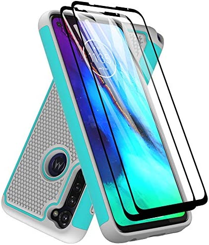 Moto G Stylus Case with Tempered Glass Screen Protector [2 Pack], Dahkoiz Armor Defender Cover Motorola Moto G Stylus Case Dual Layer Hybrid Protective Phone Case for Motorola Moto G Stylus, Mint