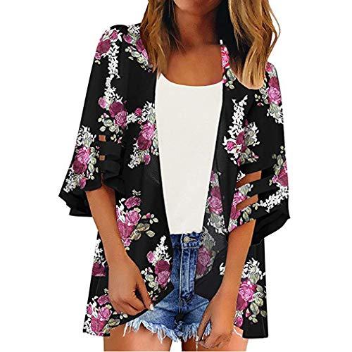 3/4 Bell Sleeve Chiffon Kimono Cardigan Women Mesh Panel Floral Casual Loose Cardigan Black