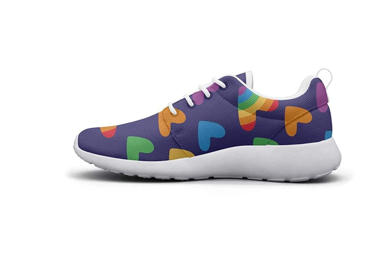 Wear-Resistant Outdoor Sneaker Gay Hearts with Rainbow Parade LGBT Young Men Casual Running Shoes