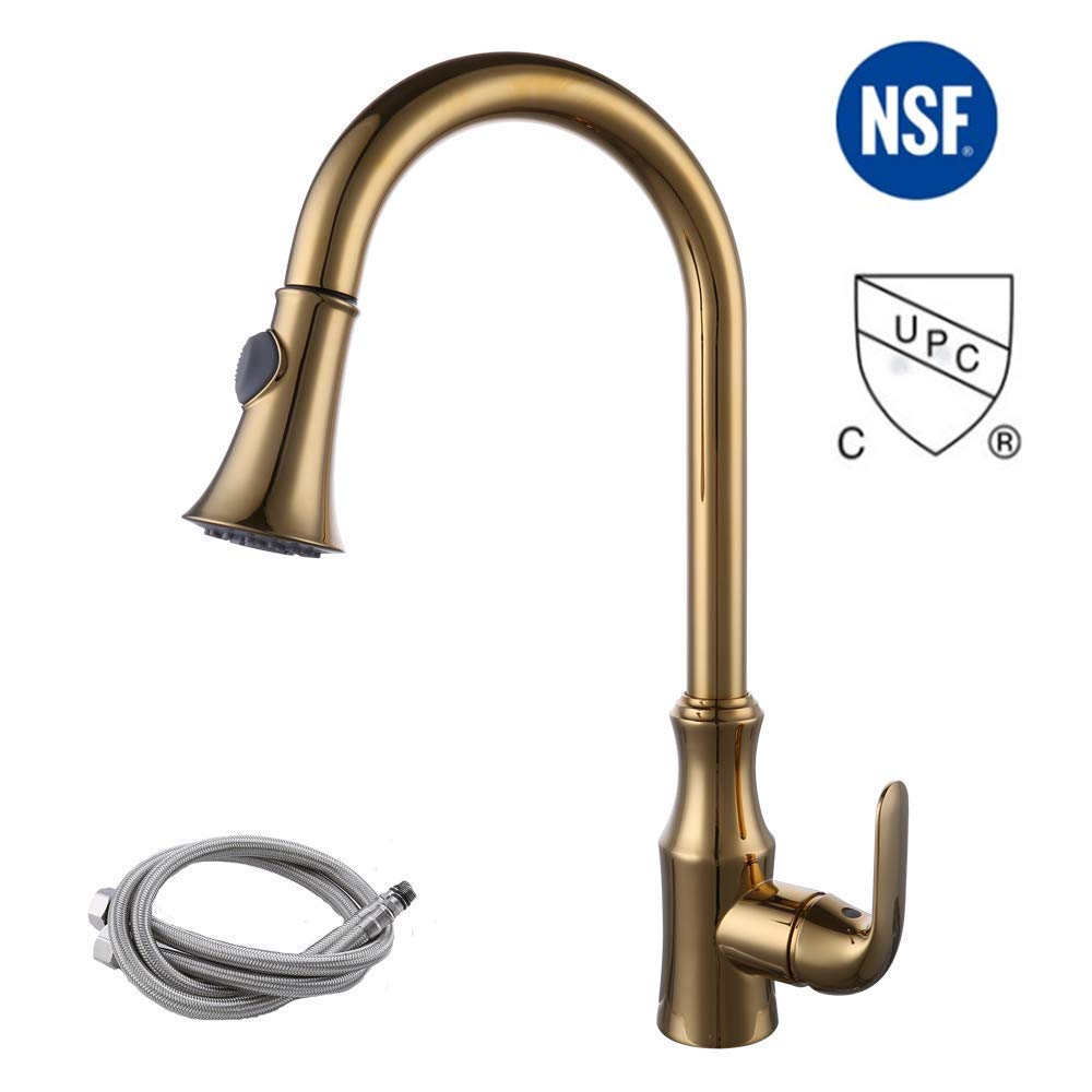 KES cUPC NSF Certified Brass Singel Handle Pull Down Kitchen Faucet with Retractable Pull Out Wand, High Arc Swivel Spout, Titanium Gold, L6936LF-PG
