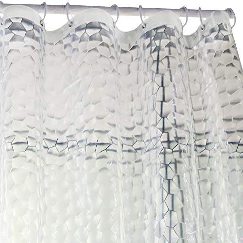 Wimaha Heavy Duty Shower Curtain Liner Waterproof 100% EVA Bath Curtain with Magnets for Bathroom, Shower Stall, Bathtub, 72 x 72, 3D Effect, Clear Watercube ()