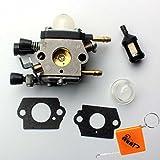 Huri Carburetor + Fuel Filter for STIHL BG45BG46BG55BG65BG85SH55SH85Leaf Blower Lawn Mowers Replaces Zama C1Q S68G, 42291200606