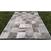 New Cowhide Rug Leather. Animal Skin Patchwork Area Carpet (8 X 8)