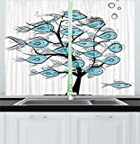 Curtains with Fish on Them Ambesonne Ocean Animal Decor Kitchen Curtains, Life of Tree of Funny Fish Figures on The Branches with Different Emojis, Window Drapes 2 Panels Set for Kitchen Cafe, 55 W X 39 L Inches, Blue Black