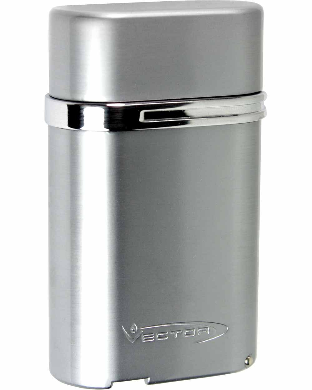 Viking Quad Torch Flame Table Top Cigar Lighter in an Attractive Gift Box Warranty Chrome Satin by VECTOR