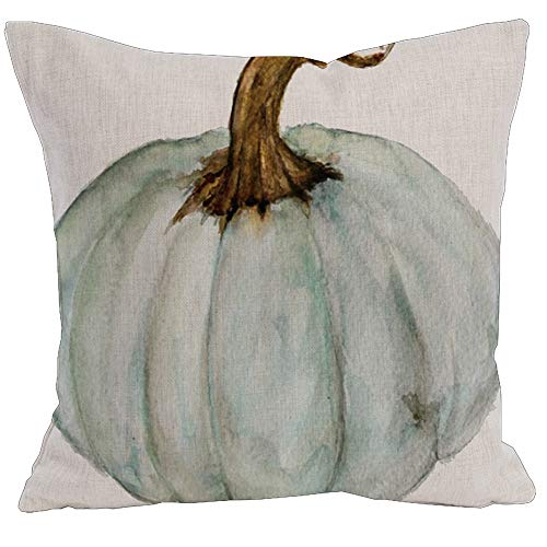 (KACOPOL Watercolor Autumn Pumpkin Throw Pillow Covers Cotton Linen Pillowcase Cushion Cover Autumn Halloween Thanksgiving Home Office Decorative Square 18