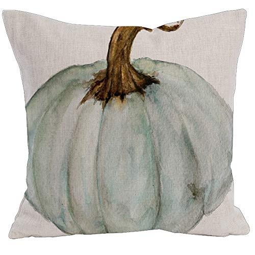 KACOPOL Watercolor Autumn Pumpkin Throw Pillow Covers Cotton Linen Pillowcase Cushion Cover Autumn Halloween Thanksgiving Home Office Decorative Square 18 X 18 (Blue Gray Pumpkin)