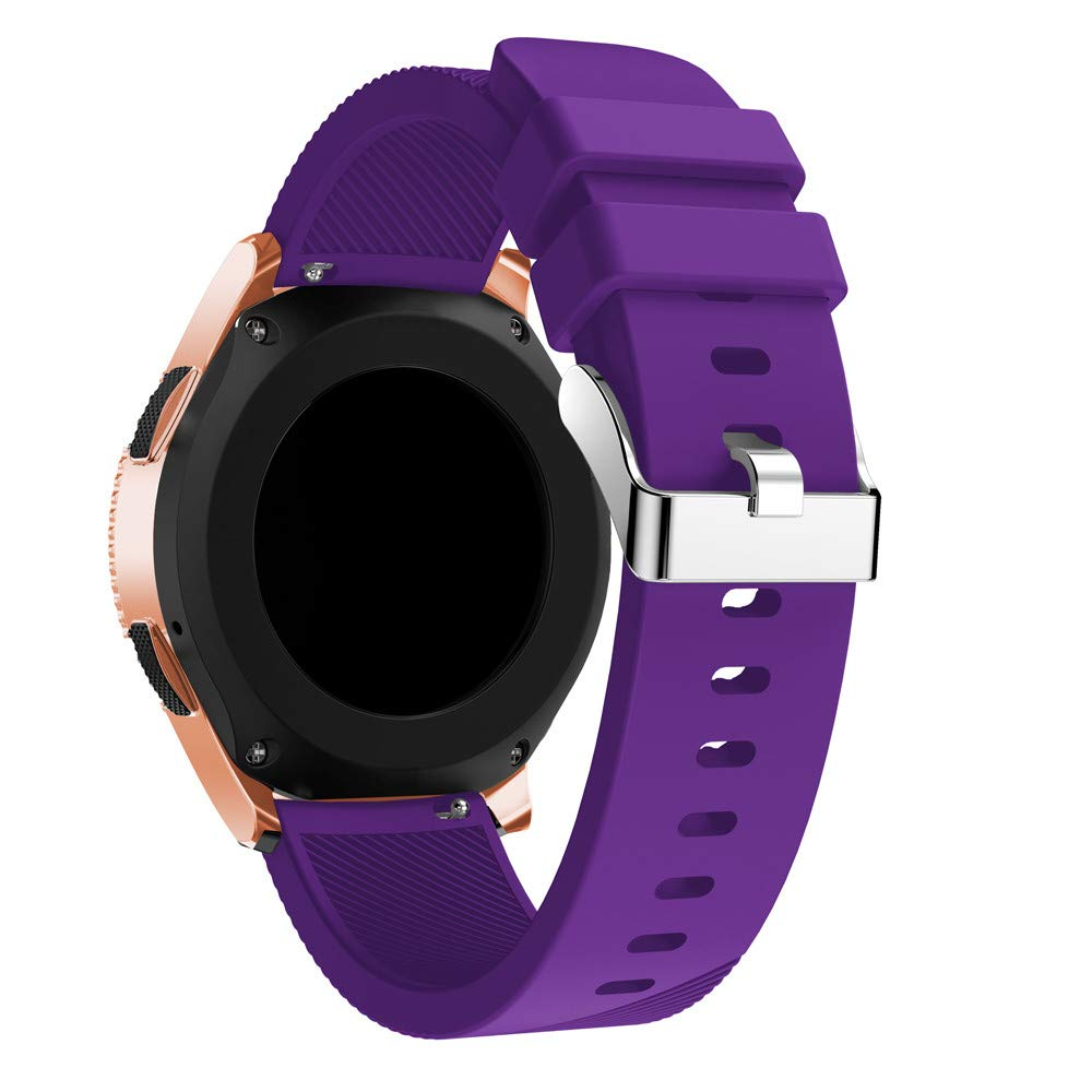 KFSO Compatible Samsung Galaxy Watch 42mm/46mm,Soft Silicone Watch Band Replacement Band Strap (Purple, 42mm)