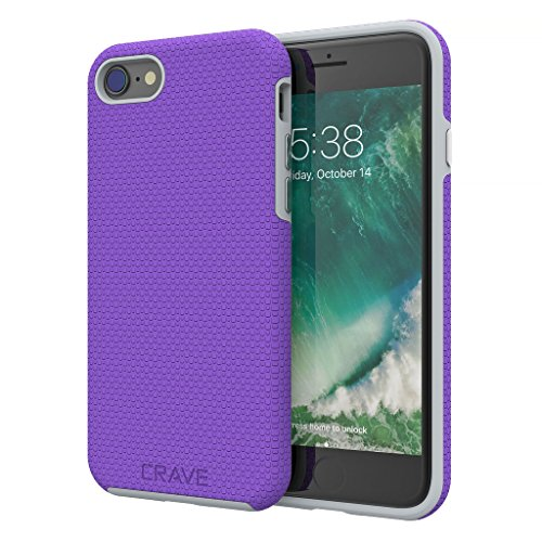 iPhone 8 Case, iPhone 7 Case, Crave Dual Guard Protection Series Case for Apple iPhone 8/7 (4.7 Inch) - Purple/Grey