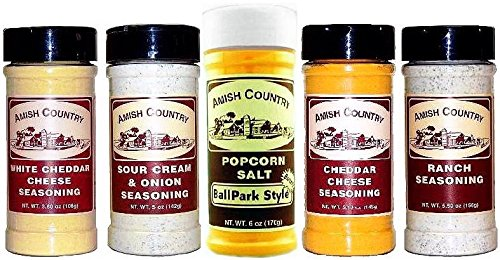 Amish Country Popcorn Pack of 5 Gourmet Popcorn Seasoning Variety Bundle Sampler Set White Cheddar Cheese, Sour Cream & Onion, Cheddar Cheese, & Ranch Includes One (1) 6-oz Ballpark Style Seasoning Salt (Popcorn Bbq Seasoning compare prices)