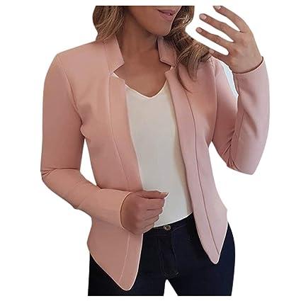 SUNNSEAN Abrigos Blazer Chaqueta Mujeres Elegante de Moda Color ...