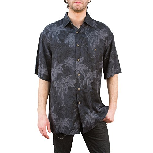 (Campia Men's Rayon Print Shirt (Tonal Tropical Leaf Black, M))