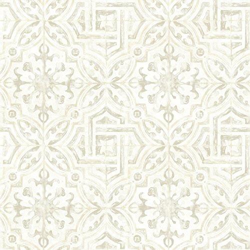 Spanish Cottages - Warner 3117-12333 Sonoma Grey Spanish Tile Wallpaper,