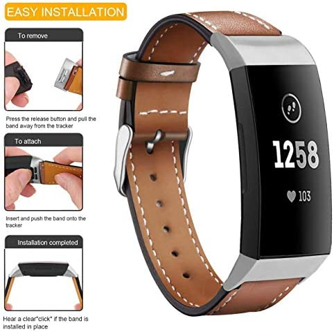 Hotodeal Leather Band Compatible Charge 3, Classic Replacement Genuine Leather Bands Metal Connectors Women Men Small Large Size Silver, Rose Gold, Black 5