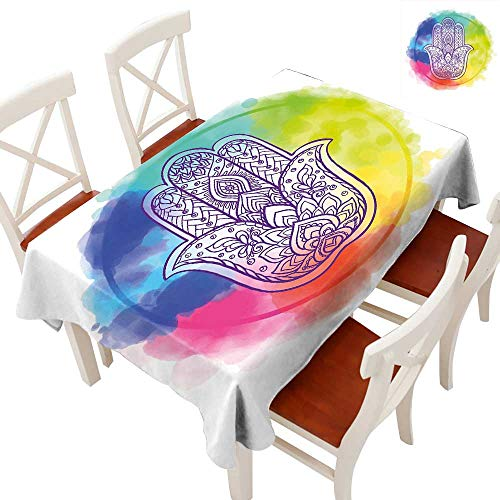 (Anyangeight Hamsa Elegance Engineered Christmas Tablecloth Circle of Dreamy Vivid Colors and Hand of Fatima with Ethnic Esoteric Charm Elements Patterns Tablecloths for Kitchen Multicolor 60
