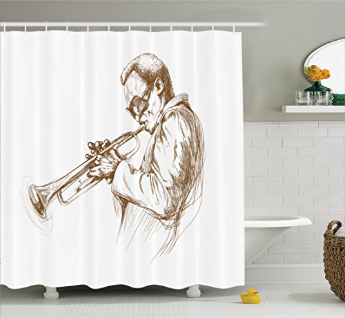 Ambesonne Music Shower Curtain, Jazz Man Playing Trumpet...