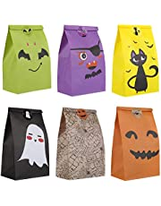 GWHOLE 24 PCS Halloweeen Paper Candy Bags with Stickers Party Treat Bag Party Favor Goody Bags Trick or Treat Paper Bags for Halloween Party Favor Supplies