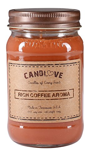 Coffee 16 Oz Jar Candle - CANDLOVE Rich Coffee Aroma Scented 16oz Mason Jar Candle 100% Soy Made In The USA
