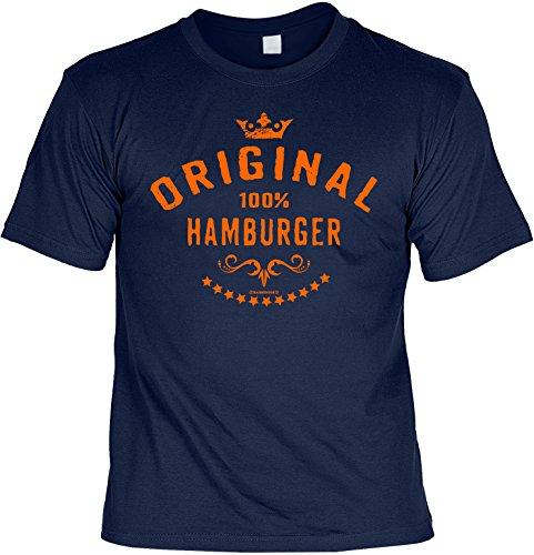 T-Shirt - Original 100% Hamburger - lustiges Sprüche Shirt als Geschenk für Hamburg Fans mit Humor