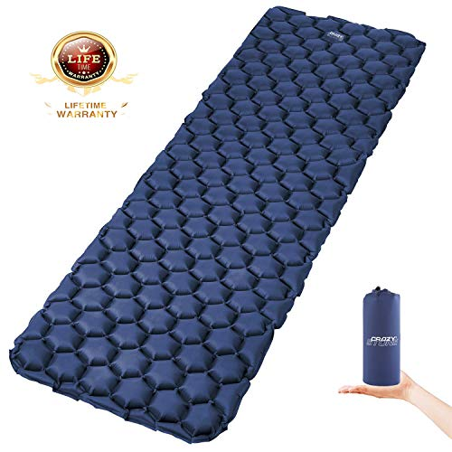 CRAZY STONE Inflatable Camping Sleeping Pad - Ultralight Compact Camping Sleeping Mat for Backpacking, Hiking - Comfortable Air Cell Pad with Repair Kit (Deep Blue)