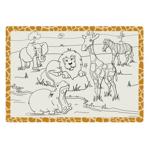 Hoffmaster 310690 Paper 2 Sided Kids Placemat, 14'' Length x 9-3/4'' Width, Jungle Fun (Case of 1000) by Hoffmaster