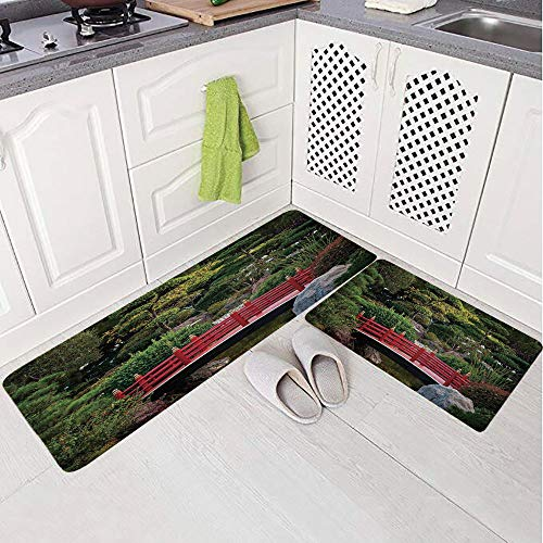 2 Piece Non-Slip Kitchen Mat Rug Set Doormat 3D Print,Pond Japanese Garden Monte Carlo Monaco Along,Bedroom Living Room Coffee Table Household Skin Care Carpet Window Mat,