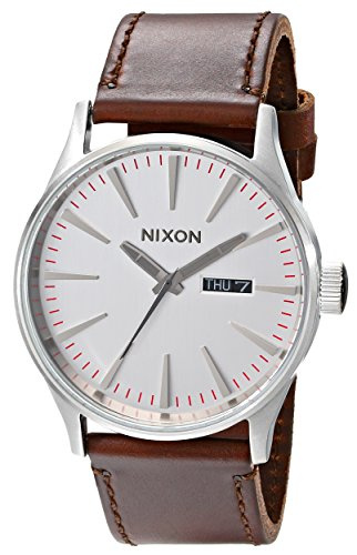 Nixon Sentry Leather A1051113-00. Silver and Brown Men's Watch (42mm Silver/White Watch Face. 23mm Brown Leather - Silver Brown