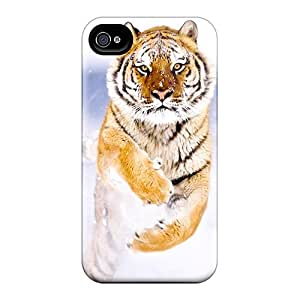 Iphone 4/4s Case Slim [ultra Fit] Tiger In The Snow White Protective Case Cover