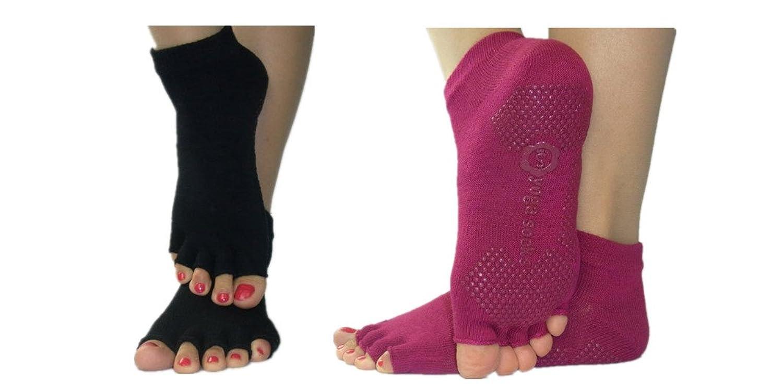 C.X Trendy Non Slip Cotton Yoga Socks, Full Toe and Toeless, 2 Pairs Set