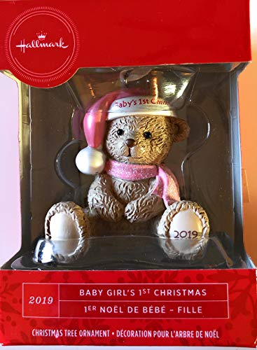 Hallmark Baby's 1st Christmas 2019 Pink Bear (Hallmark Ornament First Christmas)