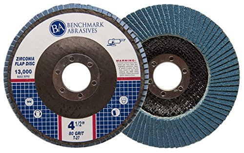 4.5'' x 7/8'' Premium Zirconia Flap Discs Grinding Wheels 80 Grit Type 27-10 Pack by Benchmark Abrasives (Image #1)