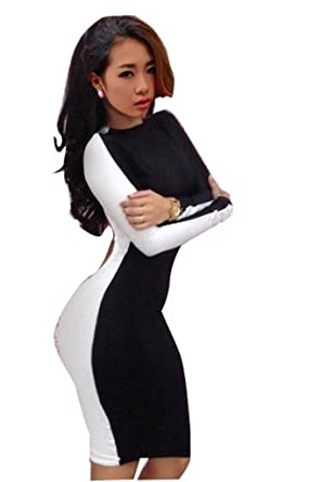 Amazon.com: Gaorui Shadow Black White Long Sleeves Clubwear ...