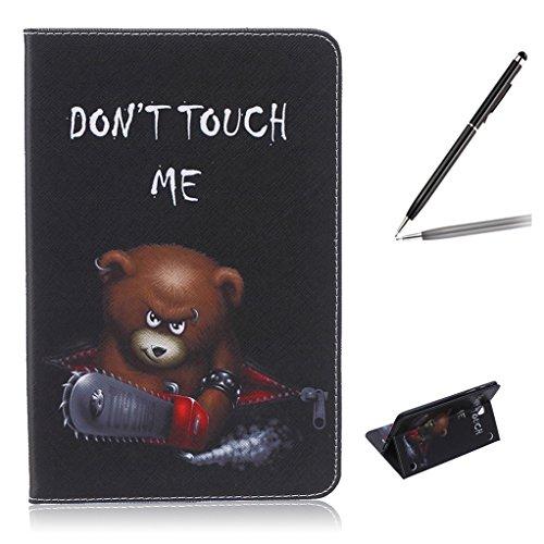 Trumpshop Smartphone Carcasa Funda Protección para Samsung Galaxy Tab A 8.0 Pulgadas (T350) + Mariposas Verdes + PU Cuero Caja Protector Billetera Choque Absorción Dont Touch Me (oso del bebé)