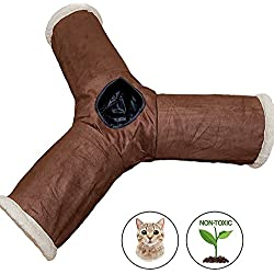 3 Way Cat Tunnel, Interactive Play Cat Tube Toy with Crinkle Sound- Best Cat Tunnels for Indoor Cats - Fun Kitty Tunnel For Hiding - Pet Friendly Cat Tunnel Toys, Collapsible Cat Toy Tunnel - Rabbit T