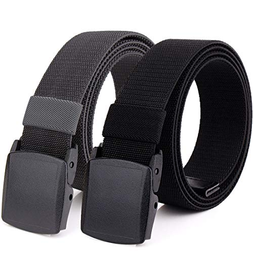Hoanan 2-Pack Elastic Stretch Belt, Men's All Size No Metal Nylon Tactical Hiking Belt (Fit up to 42