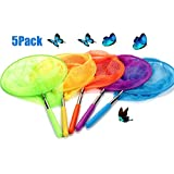 """USATDD Kids Telescopic Butterfly Fishing Nets Great for Catching Insects Bugs Fish Caterpillar Ladybird Nets Outdoor Tools Colorful Extendable 34"""" Inch (5 Pack)"""