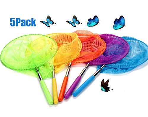 USATDD 5 Pack Kids Telescopic Butterfly Fishing Nets Great for Catching Insects Bugs Fish Caterpillar Ladybird Nets Outdoor Tools Colorful Extendable 34