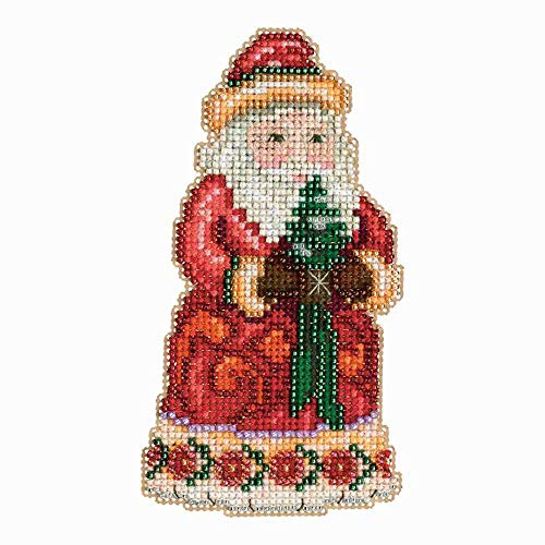 Mill Hill Christmas Santa Ornament Counted Cross Stitch Kit w/ Glass Beads Christmas Cheer ()