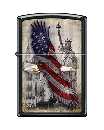 Zippo Custom Lighter - USA Eagle & Statue of Liberty - Black Matte ()