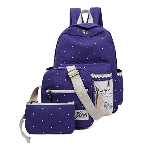 étudiant De Sac Purple Dos à Pièces De à à Trois Mode Toile Sac Sac Dos Bandoulière Impression En T6IwWqP