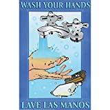 "Wash Your Hands Safety Poster Laminated- 11""L x 17""H"
