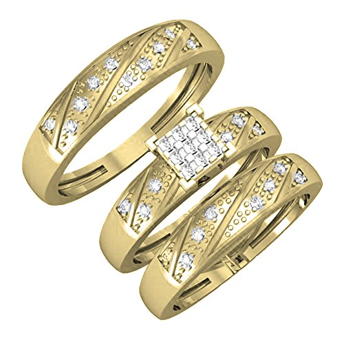 Dazzlingrock Collection 0.28 Carat (ctw) 14K Round Cut Diamond Men & Women's Engagement Ring Trio Bridal Set 1/4 CT, Yellow Gold