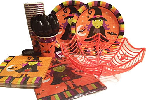 Halloween Spooky Theme Party Supplies Bundle 2016 – (104 pcs) Serves 18 Guests - Hallowe'en Plates Napkins Cups Tablecloth Bowl and Utensils - Witch and Bats Dinnerware (Halloween Stores Spirit)