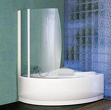 Aurora 8 Pare bañera curva 2 volets giratorios H150 cm – vidrio 6 mm Crystal Clear Profile aluminio acabado blanco y Silver o cromo: Amazon.es: Bricolaje y herramientas