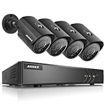 ANNKE Security Camera System 8CH 1080P Lite Surveillance Video DVR with 1TB Hard Drive and (4) 1.3Megapixels 960P Weatherproof Cameras with Metal Housing, 100ft Super Night Vision, Easy Remote Viewing